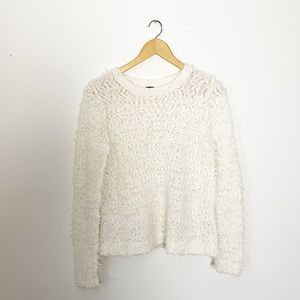 Free People Cream Boho Textured Knit Sweater Small